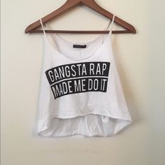 Brandy Melville Crop Top Says 'Gangsta Rap Made Me Do It' super comfortable and looks fab with a bandeau or even braless if you want haha but it's so cute!! **same or next day shipping!!** Brandy Melville Tops Crop Tops