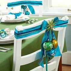 silla decorada de para navidad