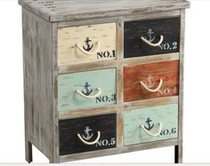Weathered six-drawer accent chest with a nautical theme.Product: ChestConstruction Material: Fir wood and rope Color: Multi Features: Six drawersEye-catching designDimensions: H x W x D Painted Furniture, Diy Furniture, Furniture Storage, Beach Furniture, Cottage Furniture, Studio Furniture, Furniture Shopping, Furniture Showroom, Refurbished Furniture