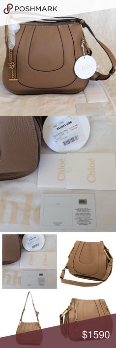 "BRAND NEW CHLOÉ HAYLEY CALF SMALL LEATHER HOBO BAG Authentic. Code 02165665*09. Made in Italy. Color: Nut. Brand new with tags and authentic certificate. This bag has dust bag and the care card. Chloe soft, horseshoe-paneled calfskin hobo bag. Golden hardware. Adjustable shoulder strap with chain insets, 13""-17"" drop. Zip top closure. Interior, suede lining; center zip compartment; one slip pocket. 10""H x 12""W x 4.5""D. ""Hayley"" is made in Italy. Chloe Bags Hobos"