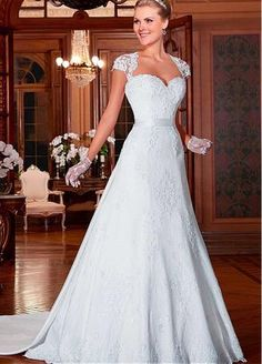 Elegant Lace & Tulle & Satin Queen Anne Neckline 2 in 1 Wedding Dresses with Beaded Lace Appliques