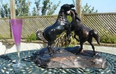 Bronze Horse Sculpture / Equines Race Horses Pack HorseCart Horses Plough Horsess sculpture by artist Jacqueline Billington (ne Warren) titled: 'Fighting Arab Stallions (bronze Small Horse statuettes)'