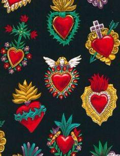 Corazones. Dia de los muertos. Arte mexicano