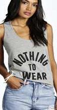 boohoo Nothing To Wear Slogan Vest - grey marl azz01658 Make your top pop this season with sporty, baseball-style basic tees in quilted finishes with ribbed, stripe trims. Crew necks come in block colours, crop tops with mesh inserts and long sleeve jersey http://www.comparestoreprices.co.uk/womens-clothes/boohoo-nothing-to-wear-slogan-vest--grey-marl-azz01658.asp