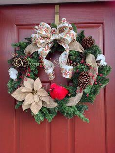 Winter Cardinal Wreath  Http://www.facebook.com/charmedsouthernhome