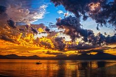 Boat, Sundown, Sunset, Sky, Clouds