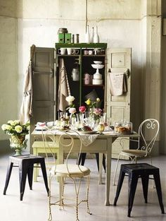 boho kitchen metal chairs and stools