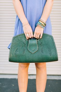Boho Leather Purse Bohemian Bag Tooled Leather by ThreeBirdNest
