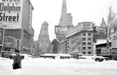 Blizzard of 1947. New York City. Times Square, the view south from 46th street.