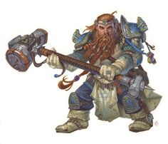 Dwarf cleric of Moradin (from the 5e Dungeons & Dragons Player's Handbook). Art by Chris Seaman.