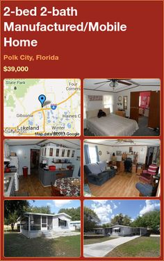 2-bed 2-bath Manufactured/Mobile Home in Polk City, Florida ►$39,000 #PropertyForSale #RealEstate #Florida http://florida-magic.com/properties/1467-manufactured-mobile-home-for-sale-in-polk-city-florida-with-2-bedroom-2-bathroom