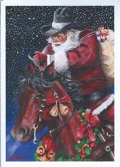 Items similar to Cowboy Santa Christmas Card on Etsy – Christmas DIY Holiday Cards Western Christmas, Christmas Horses, Etsy Christmas, Father Christmas, Santa Christmas, Country Christmas, Christmas Decor, Christmas Artwork, Christmas Paintings