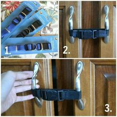 Use Dollar Store dog collars to child proof cabinet doors.