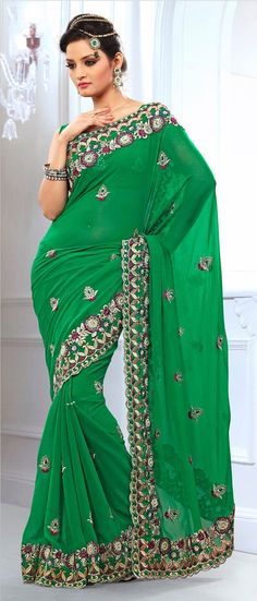 #Green Faux #Chiffon #Saree with Blouse @ $86.17