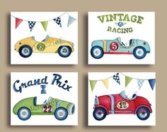 VINTAGE RACE CAR RACECAR ROADSTER KIDS WALL ART PRINTS BABY BOY racing NURSERY #BabyNurseryDECORPrint