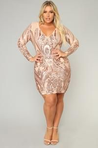 Miss Fortune Sequin Dress - Nude/Rose Gold