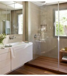 Home Decorating Ideas Bathroom Modern Bathroom Design Glass Shower Segregation Floor Wood  Home Decorating Ideas Bathroom Source ...