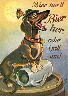 Vintage German Dachshund postcard