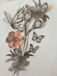 Cosmetology Tattoos, Hairdresser Tattoos, Hairstylist Tattoos, Flower Tattoo Designs, Henna Designs, Hair Scissor Tattoos, Forearm Tattoos, Sleeve Tattoos, Hair Logos