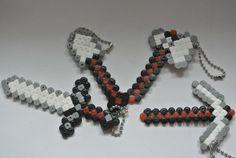 Hama Bead Keyring Minecraft weapons by SnazziieeShazziiee