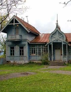 Abandoned home, Russia. A bit of TLC and this house would be beautiful.