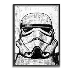"""""""Add a touch of the dark side to any room in your home with this Disney's Star Wars Black & White Stormtrooper Framed Giclee Texturized Art by Stupell Home Decor© Disney Add a touch of the dark side to any room in your home with this Disney's Star Wars Black & White Stormtrooper Framed Giclee Texturized Art by Stupell Home Decor © Disney Artist: Neil Shigley Ready To Hang Small: 11""""""""H x 1.5""""""""W x 14""""""""D, weight: 2 lbs. Medium: 16""""""""H x 1.5""""""""W x 20""""""""D, weight: 4 lbs. MDF Wood, Canvas Vertical disp Baby Wall Art, Wood Wall Art, Framed Wall Art, Canvas Wall Art, Big Canvas, Framed Prints, Canvas Prints, Stormtrooper Art, Wood Etching"""