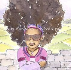 African American Modern Rapunzel with Curly Hair by eringopaint, $21.00