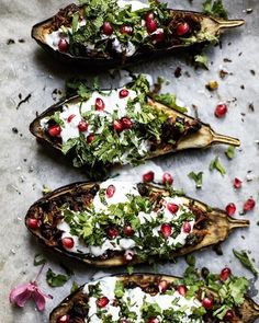 Another shot of my stuffed aubergines which everyone loved so much. Stuffed with rice and lentils and black beans finally topped off with a mint herbed yoghurt and pomegranate. I wish I had some more for lunch today! Great Dinner Recipes, Healthy Dinner Recipes, Healthy Meals, Easy Recipes, Dinner Ideas, Healthy Eating, Cooking Recipes, Autumn Winter Recipes, Winter Food