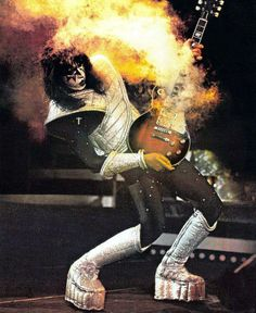My first guitar hero, Ace Frehley, and his smokin' hot tobacco burst Gibson Les Paul Standard, with three pickups.