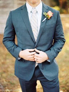 Fine Art Film Wedding Photographer | Groom Boutonniere | Emily March Photography