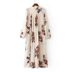 New Arrival Summer Fashion Loose Print Slit Long Sleeve V Collar Long Dress  ( 16.50) 4630538015f6
