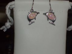 LOOK!!!! A PRECIOUS PAIR OF STERLING SILVER PINK FIRE OPAL DOLPHIN DANGLE EARRINGS