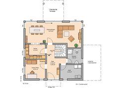 Kundenhaus santorin grundriss erdgeschoss h user pinterest for Hausformen einfamilienhaus