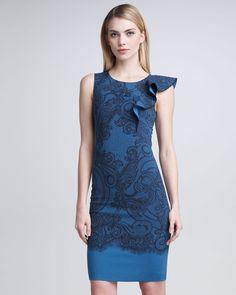 Gojee - Flutter-Shoulder Sheath Dress