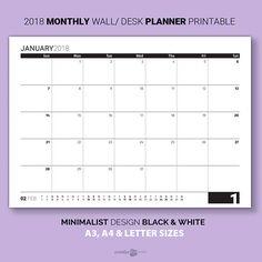 2018 MONTHLY Planner > Printable. SUNDAY start week. Minimalist Black & white