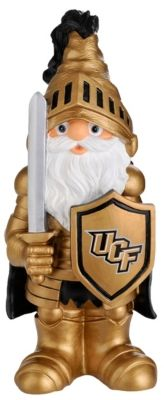 Support your favorite college team with this University of Central Florida garden gnome! This durable 11½'' polyresin UCF garden gnome is decked out in his gold Knights gear. Handpainted