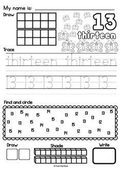 Teen Number Worksheets to {Printable Activities for Kindergarten} Number Worksheets Kindergarten, Math Worksheets, Kindergarten Activities, Children Activities, Printable Worksheets, Classroom Activities, Teaching Math, Teen Numbers, Math Numbers
