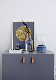 blue grey cabinet and porcelain bulb lamp available from Out There Interiors Home Design, Nordic Design, Table Indus, Home Interior, Interior Design, Blue Table Lamp, Lampe Decoration, Hallway Inspiration, Small Lamps