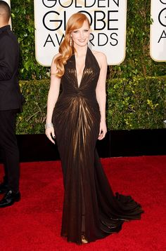 Jessica Chastain Golden Globes red carpet