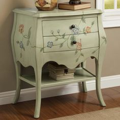 Coaster Accent Cabinets Antique Mint 2 Drawer Cabinet With Floral Hand  Paintings   Coaster Fine Furniture