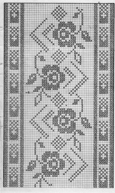 Schema Fascia rose Ciao a tutti ripetendo il motivo questa Funny Cross Stitch Patterns, Cross Stitch Borders, Cross Stitch Flowers, Cross Stitch Designs, Cross Stitching, Cross Stitch Embroidery, Embroidery Patterns, Crochet Patterns, Filet Crochet Charts