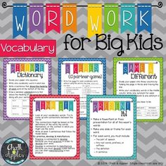 Word Work activities that work for any vocabulary words. It can be so hard to find appropriate, challenging word work for big kids in the intermediate grades... These activities are perfect word work for big kids to use with Daily 5 or in literacy centers for upper elementary students.
