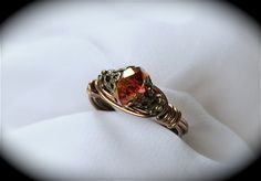 Red Dragon - Red Czech Glass Neo Victorian Ring. $18.00, via Etsy.