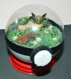 Eevee in Diorama Pokemon Terrarium with stand 3 by ArtfulSunshine