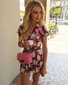 Girl in floral dress with a coffe in her hand, what's more #ItalianDays than that?