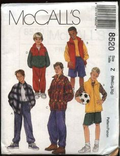 McCall's Sewing Pattern 8520 M8520 Boys Size 3-6 Wardrobe Zipper Front Jacket Vest Pants Shorts Top    McCall's+Sewing+Pattern+8520+M8520+Boys+Size+3-6+Wardrobe+Zipper+Front+Jacket+Vest+Pants+Shorts+Top
