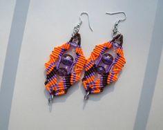 Tribal micro macrame knotted earrings Orange by MartaJewelry