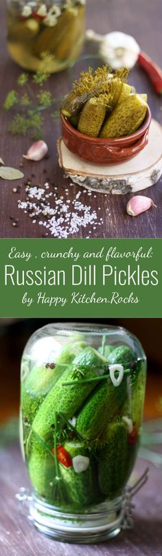 Check out this An easy family recipe of Russian Dill Pickles (солёные огурцы) with herbs, garlic and peppercorns. A healthy, crunchy and refreshing appetizer you will love! The post An easy family r . Canning Pickles, Pickles Recipe, Butter Pickles, Canadian Food, Canadian Recipes, Russian Recipes, Russian Foods, French Recipes, Italian Recipes