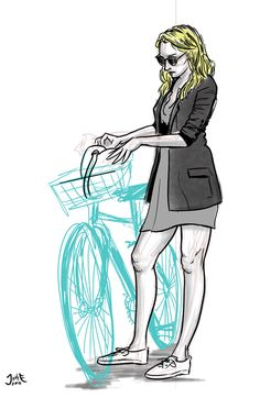 Blond with Bike