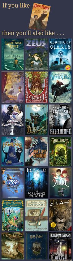 If you like Harry Potter then youll aslo like these books 26 Books for Kids Who Love Harry Potter